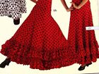 NWT Dotted Flamenco Praise Double Ruffled Hem Paneled Skirt Red Black Dots 85654
