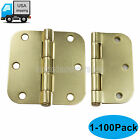 3.5 Inch Interior Solid Butt Door Hinges Matt Brass with 5/8 Radius Heavy Duty