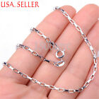 Men &Women's 925 Sterling Silver 18-20 inch 2mm Square link Chain Necklace Z1297