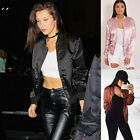 Women's Ladys Fashion Satin Bomber Jacket Retro Coat Flight Army Biker 3 Color