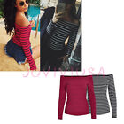 Women Casual Classic Stripe Blouse Fashion Long Sleeves T-shirt Boat Neck Top