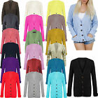 Ladies Womens Long Sleeves Chunky Cable Knit button up Boyfriend Cardigan Top