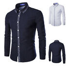Mens Fashion Formal Dress Shirt Slim Fit Long Sleeve Dot Decorated Casual Tops
