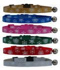 Christmas Red Green Blue Pink Silver Gold  Snowflake  safety kitten cat collar