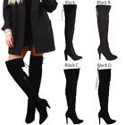 WOMENS LOW MID STILETTO HEEL OVER THE KNEE THIGH HIGH BOOTS STRETCH SIZE