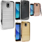 For Motorola Moto G4 Play Brushed Metal HYBRID Rubber Case Cover +Screen Guard