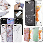 For Apple iPhone 7 & 7 PLUS TPU CANDY Gel Flexi Skin Cover Marble +Screen Guard