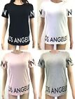 Womens Ladies NY LDN LA Slogan Logo Printed T-shirt Top Tee Short Sleeve Blouse