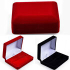 1X Red/Black Velvet Jewelry Box Ring Necklace Pendant Case Holder for Wedding