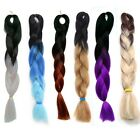 Womens Long Braid Ponytail Black Gradient Two Tone Color Straight Hair Extension