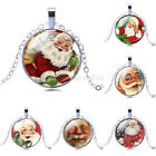 Hot Sale Xmas Santa Claus Cabochon Glass Pendant Necklace Jewelry Christmas Gift