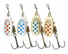 Mepps Comet Spinners -  Silver/Gold, Red/Blue Dot Colours -  All Sizes 00 to 5