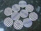 5 Large Wooden Black & White Buttons 30mm Dog Tooth or Optical Illusion