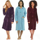 Ladies Womens Full Length Fleece Dressing Gown Zip or Button Robe Wrap ln345