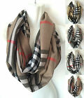 New Womens Plaid/check Print Cowl Soft Warm Infinity 2 Circle Scarf Loop Wrap