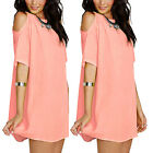 1X Womens Short Sleeve Casual Chiffon Skirt Loose Beach Dress S-XXL Sizes
