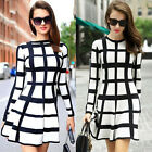 Womens Bodycon Long Sleeve Check Dress Ladies Party Evening Mini Dress Size S-XL