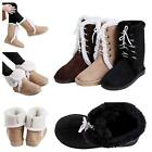 2016 Chic Winter Women's Flat Lace Up Fur Lined Warm Casual Shoes Snow Boots LJ