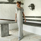 Womens Gray Bowknot Short Sleeve Elegant Maxi Party Dress Casual Fashion