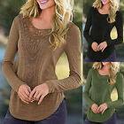 Sexy Women Blouse Long Sleeve Lace Ladies Casual Shirt Cotton Loose Tops T Shirt