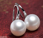 New Fashion Women's Genuine Natural White Freshwater Pearl Silver Hook Earrings