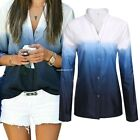 Fashion Women Stand Neck Long Sleeve Gradient Button Down Shirt Tops Blouse