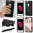 For iphone 7 Plus Hybrid Shockproof Silicone Matte Ring Bracket Stand Case Cover