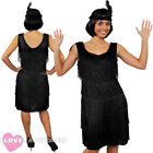 DELUXE BLACK FRINGE FLAPPER FANCY DRESS ADULT CHARLESTON COSTUME 1920'S 1930'S