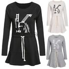 Women Lace Up Hoodie Dress O-Neck Evening Party Long Sleeve Mini Print TXST