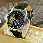 Six-pin Tourbillon Moon Phase Hollow Steel Strap Watch Men's Mechanical Watches