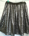 PLUS SIZE SKIRT black silver ruffled party HANDMADE IN UK 30 32 34 36 38 40
