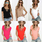 Newest Womens Loose Pullover T Shirt Short Sleeve Cotton Sexy Tops Shirt Blouse