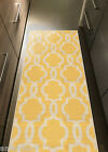 "Custom Size Stair Hallway Runner Rug Rubber Back Non Skid Trellis YELLOW 22"" 31"""