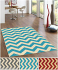 "Rubber Back Non-Slip Grey Red Blue Chevron 5' x 6'7"" Area Rug"