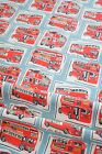 100% Brushed Cotton Fabric Vintage Retro Red London Bus on Light Blue