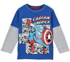 Marvel Toddler Captain America Boys Long Sleeve Graphic T-Shirt  Size 2T 3T 4T