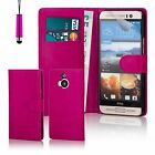Book Wallet PU Leather Case Cover For HTC Phones + Screen Protector & Stylus