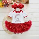 Newborn Baby Girls Christmas Fancy Costume Tutu Romper Bodysuit Outfit Dress Up