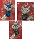 Cute Fox Crystal Pendant Sweater Chain Necklace Fashion Jewelry Alloy