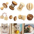 1Pcs Rat Rabbit Dog Pet Chew Play Wood Toy Pine Dumbell Unicycle Bell Roller New