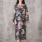 Pregnant Women Blouse Dress Long Sleeve Dresses Ethnic Floral Maternity Clothes