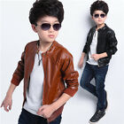 2017 New Boys Coats Faux Leather Jackets Children Fashion Outerwear Coat Hooded