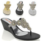 Womens Diamante Wedge Heel Toe Post Sparkly Smart Party Sandal Shoe Size 3-9