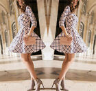 Fashion Geometric Plaid O-Neck Women Printed Mini Dress 3/4 Sleeve Party Dresses