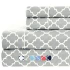 Brushed Percale Cotton Sheets 100% Cotton Printed Deep Pocket Bed Sheet Sets image