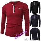 New Autumn Fashion Men's Casual T-Shirt Tops Long Sleeve V-Neck T-Shirt Tops Tee