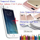 (Front Screen+Lens) Tempered Glass + Charging Sync Data Cable for iPhone 7 Plus
