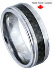 Genuine Black Carbon Fiber Inlay Step Edge Brushed Tungsten Carbide Ring-KS4-1R
