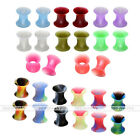 """14 Pairs 8G-3/4"""" Flexible Silicone Flared Double Plugs Tunnel Stretcher Expander"""