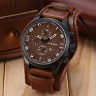 Fashion Curren Men Date Stainless Steel Leather Analog Quartz Sport Wrist Watch